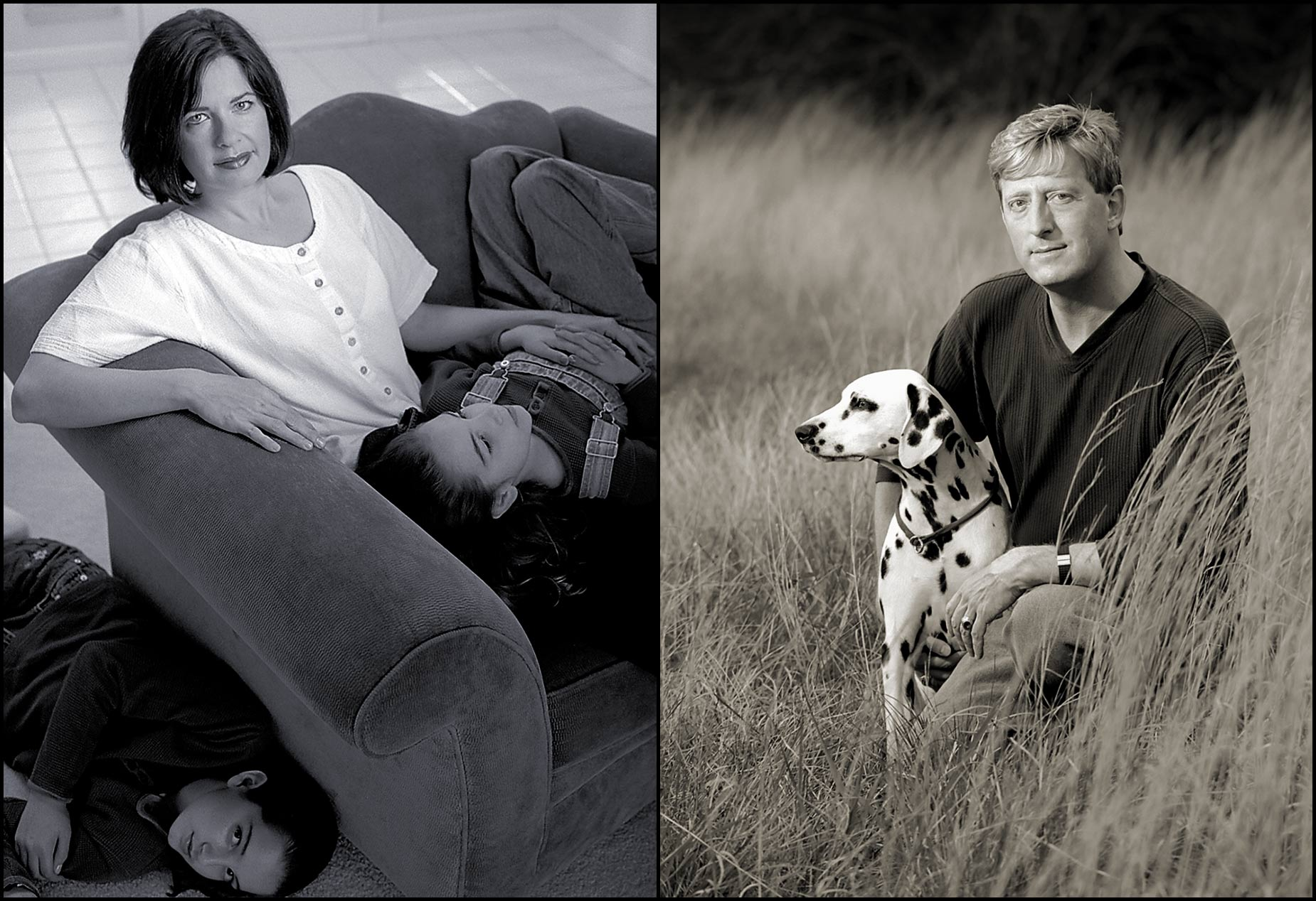 Portraits of retail store customers: Mom with daughters in their living room (L), Man with his Dalmatian in a field of tall grass.