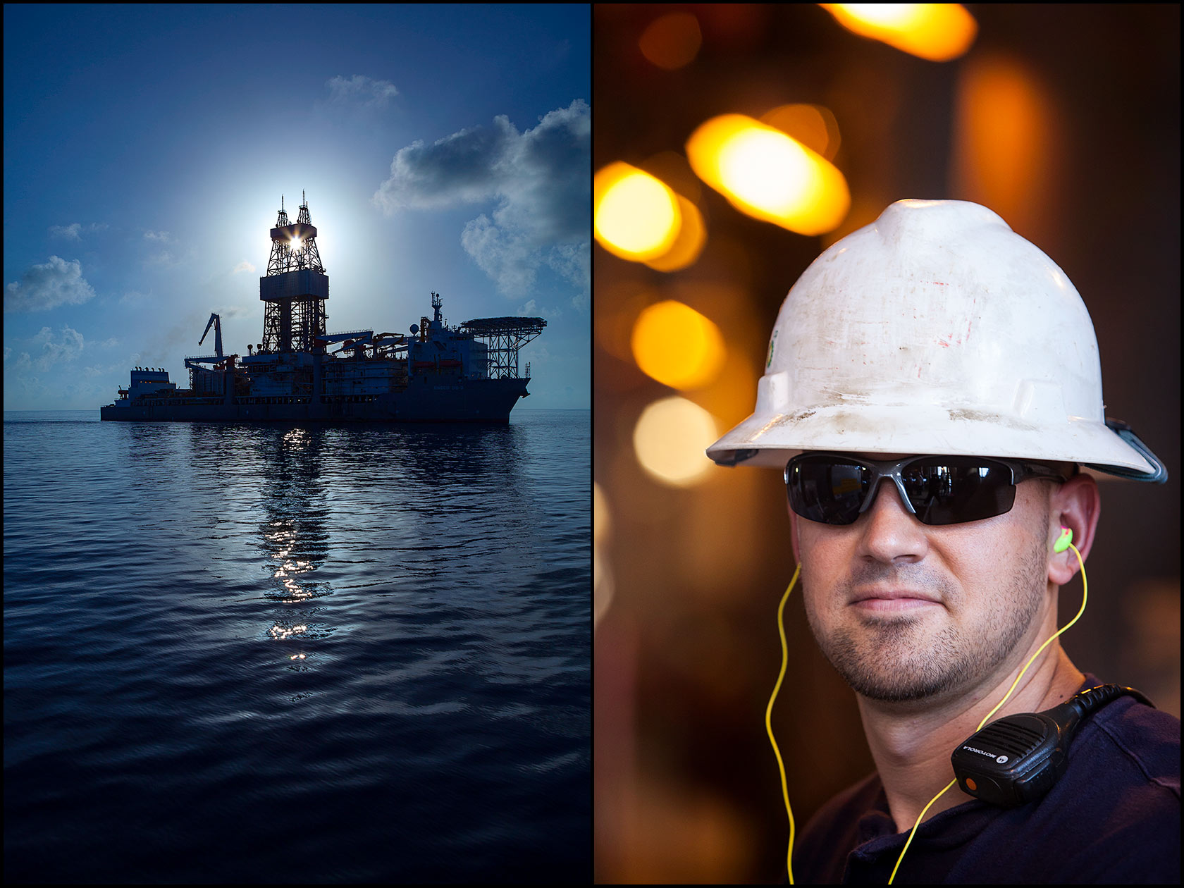 Offshore drill ship with sun behind derrick (L), Quality control tester in safety gear (PPE) on offshore rig in the Gulf of Mexico (R).