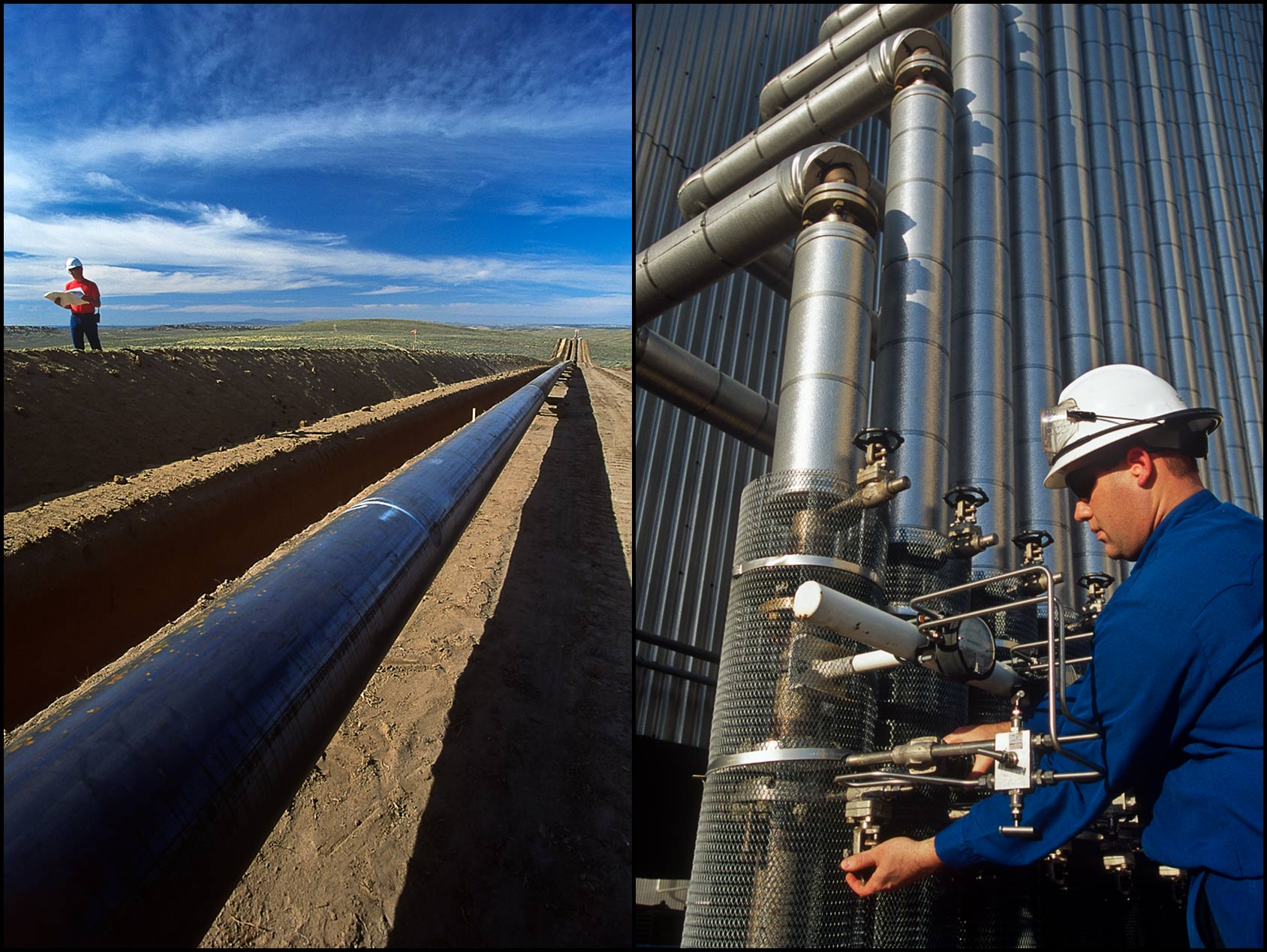 An inspector walks the trench at a pipeline construction site (L), A refinery operator works at a valve stack (R).