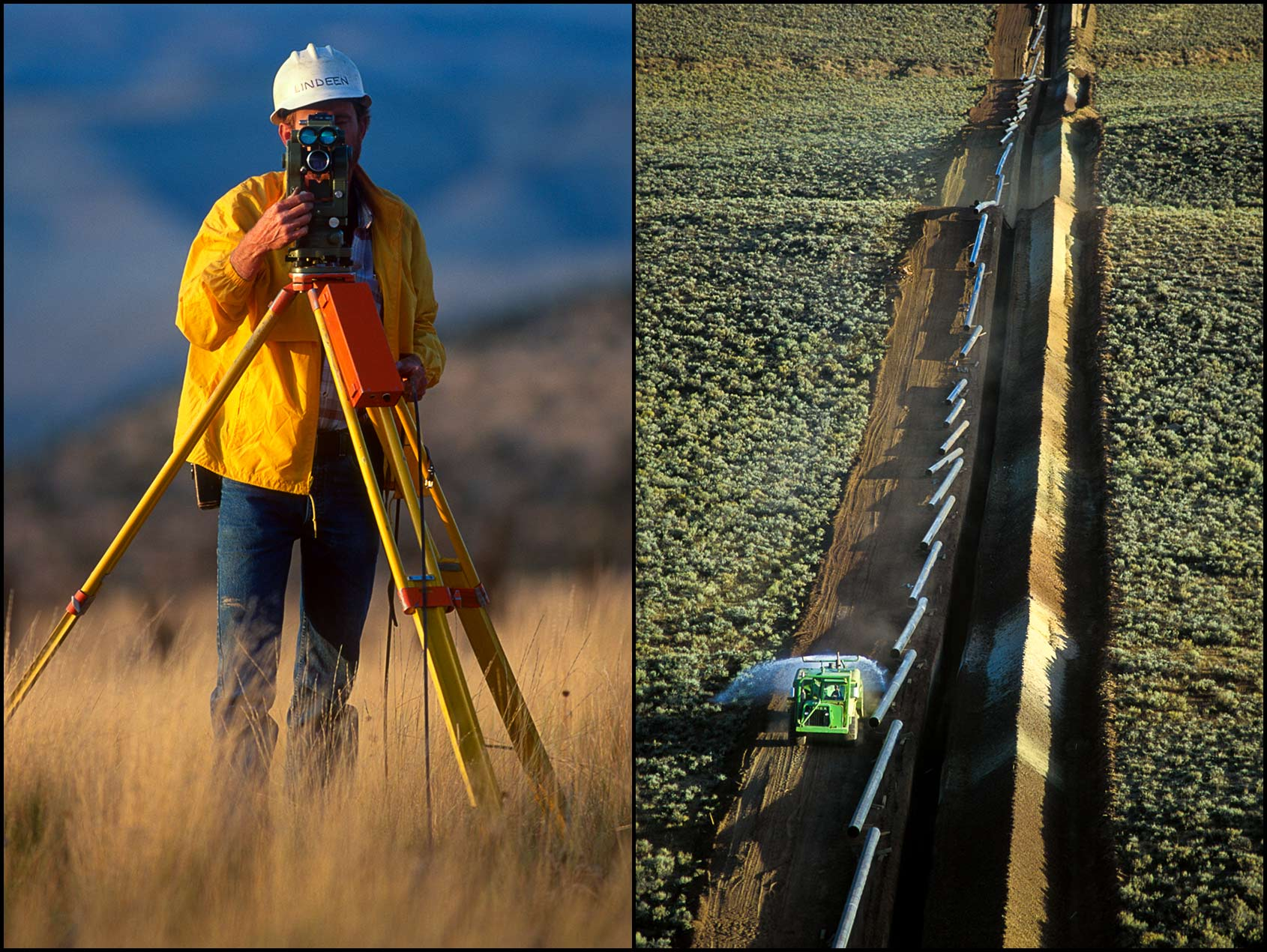 A surveyor works on a pipeline route in Colorado (L), An aerial of a water truck controlling dust along a trench for pipeline construction (R).