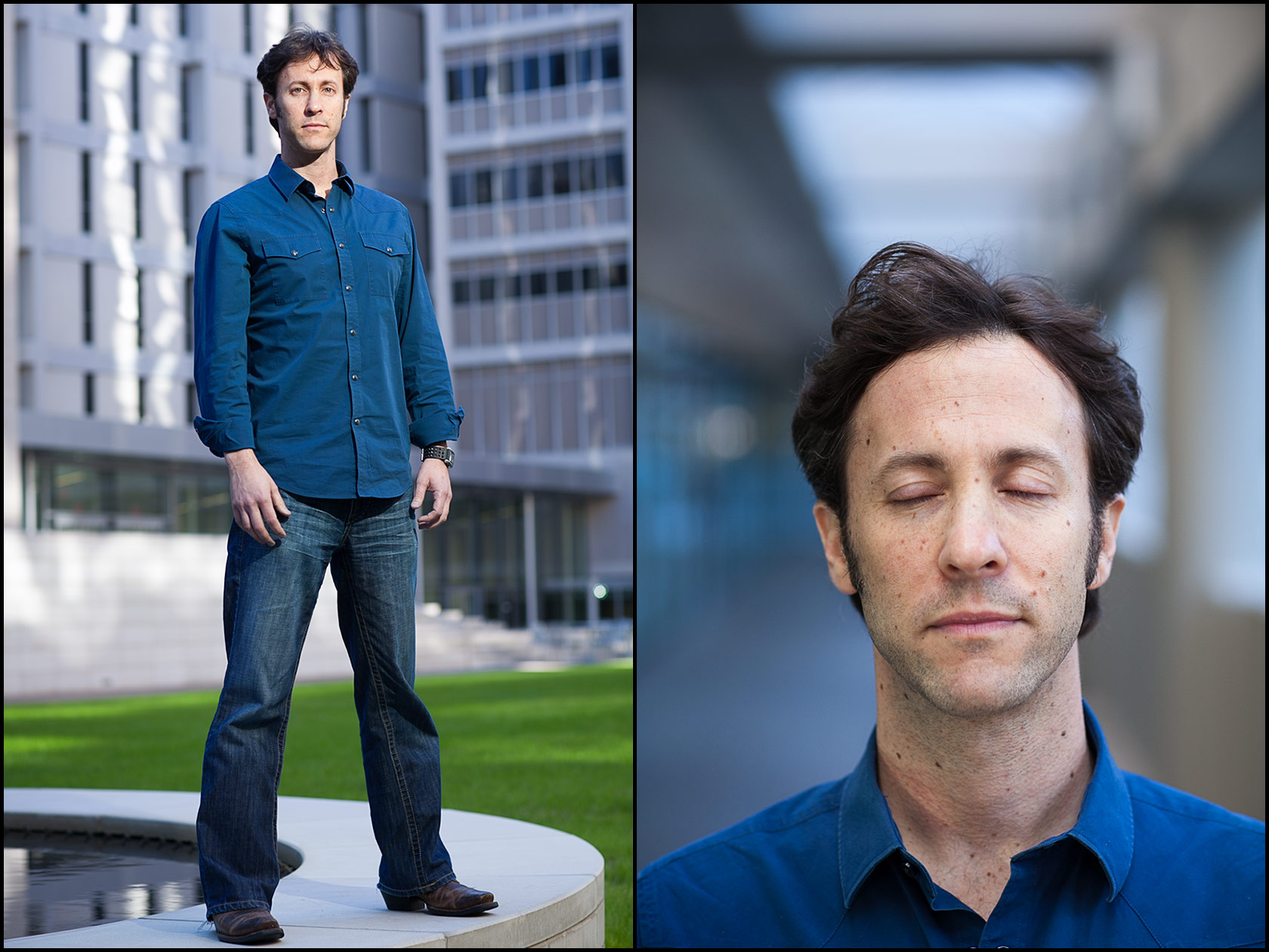 Portraits of Dr. David Eagleman, neuroscientist, in a courtyard at the Texas Medical Center in Houston.