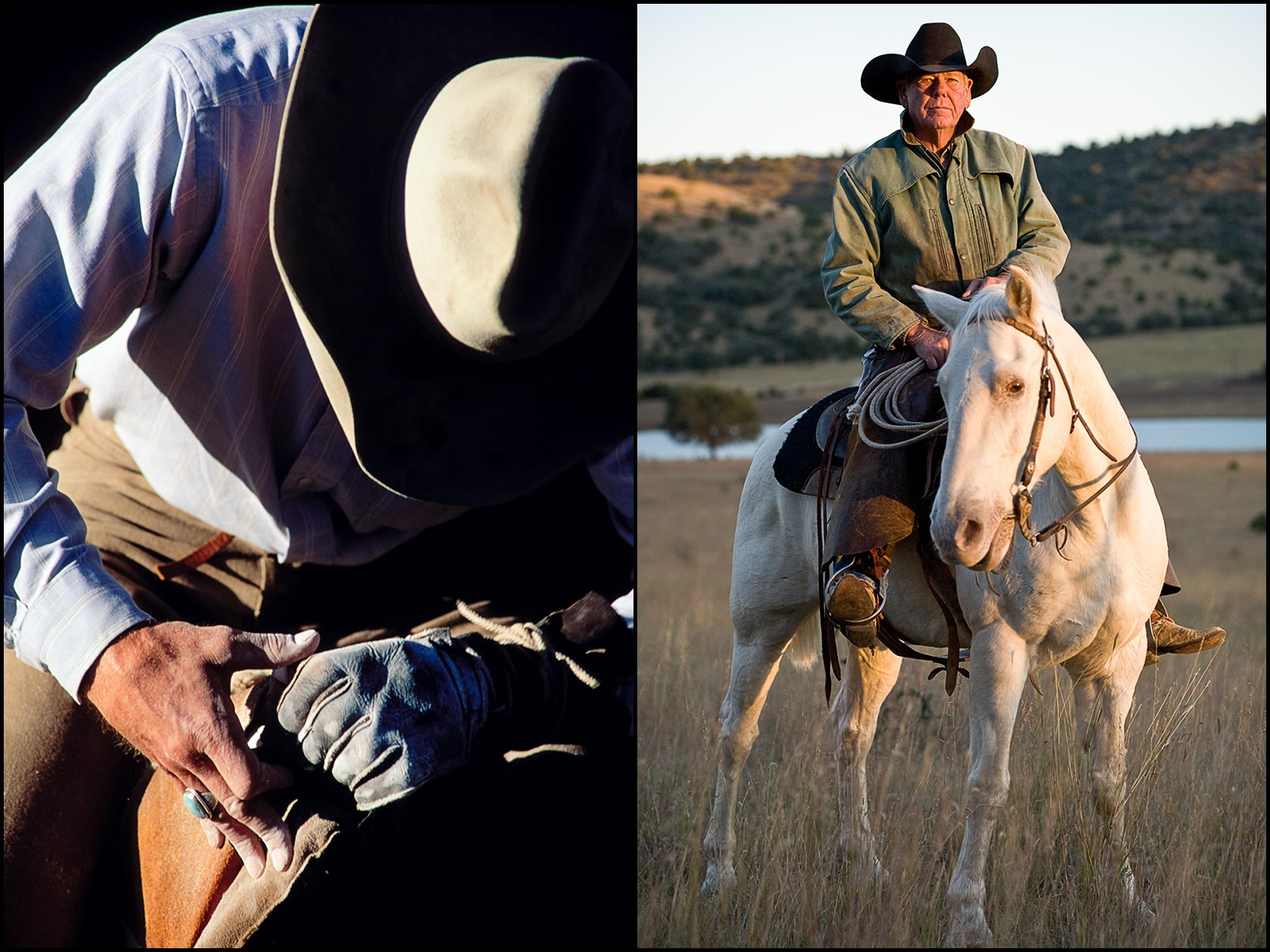 A cowboy prepares for rodeo competition (L), A west Texas cowboy in a black hat on a white horse (R).