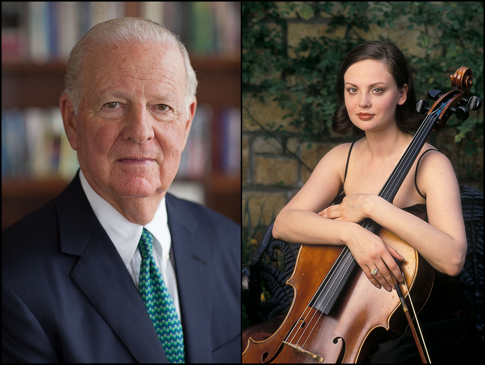 James Baker, former U. S. Secretary of State, in his office (L), Portrait of cellist Nina Kotova in a garden with her cello (R).