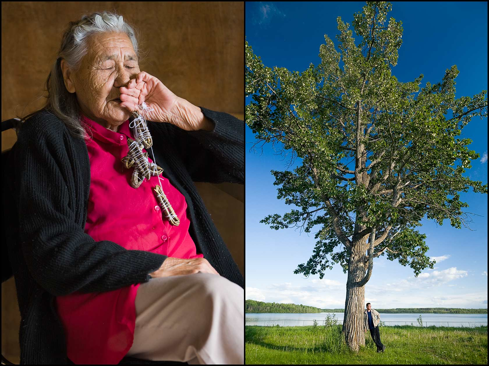 A senior woman from the Metis People (Canada) clutches healing seed pods (L) A Metis People man stands next to a tree by Kelly Lake in Canada (R).