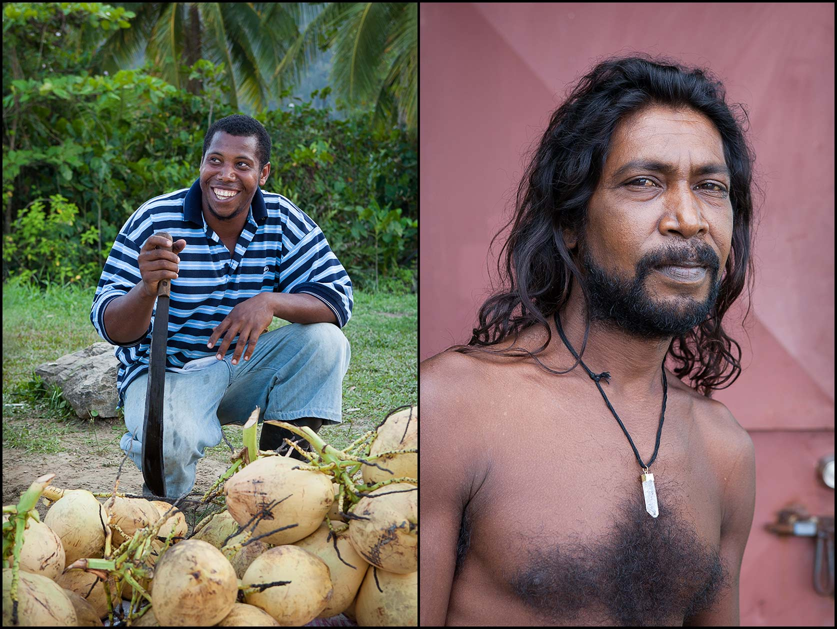 A coconut water vendor kneels with machete in Trinidad (L), A portrait of a shirtless man with long hair in Trinidad (R).