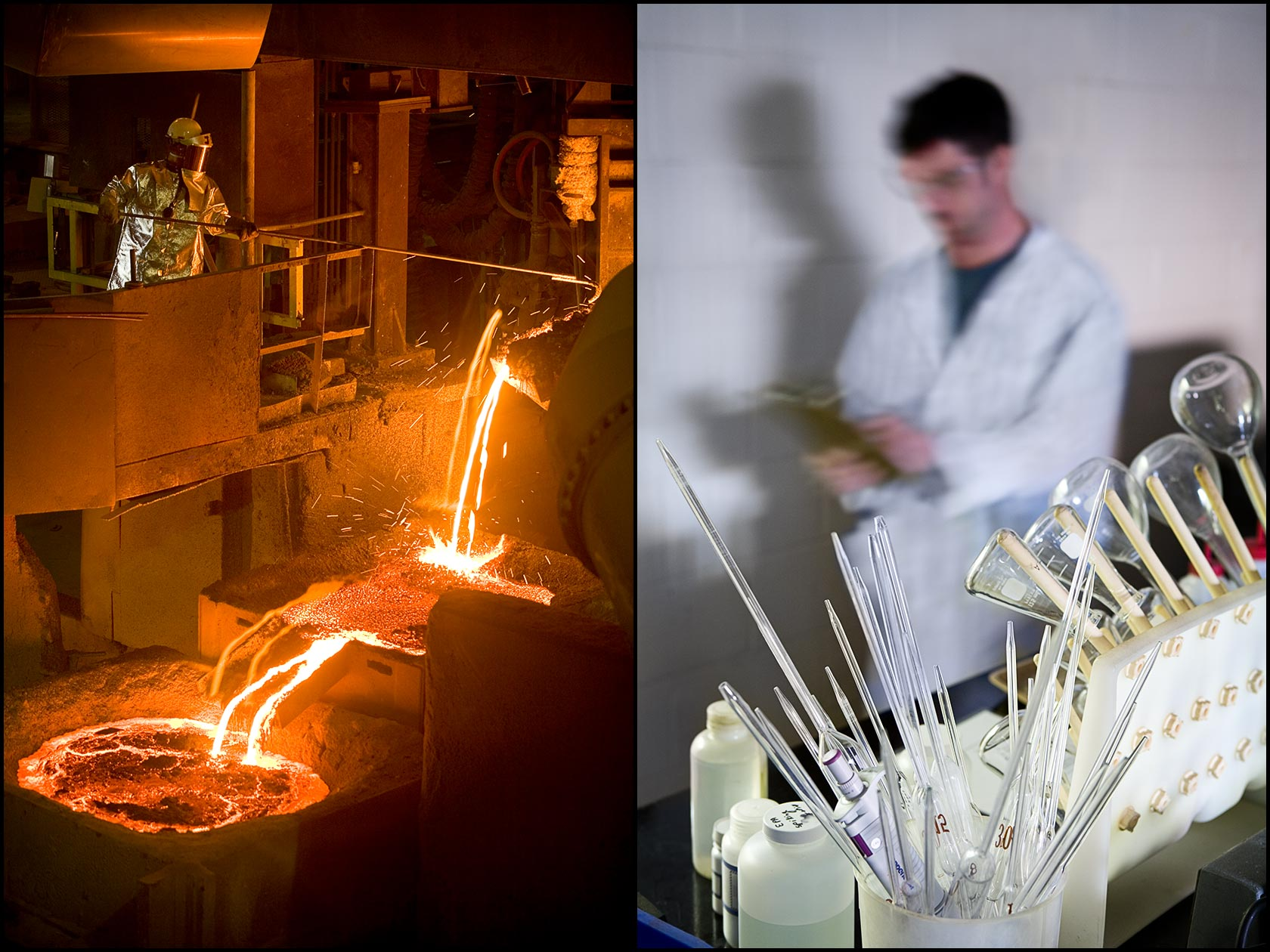 Chemical plant operations: A worker in a high-temperature safety suit initiates a metal pour (L), Technician walks through a plant quality control lab (R).