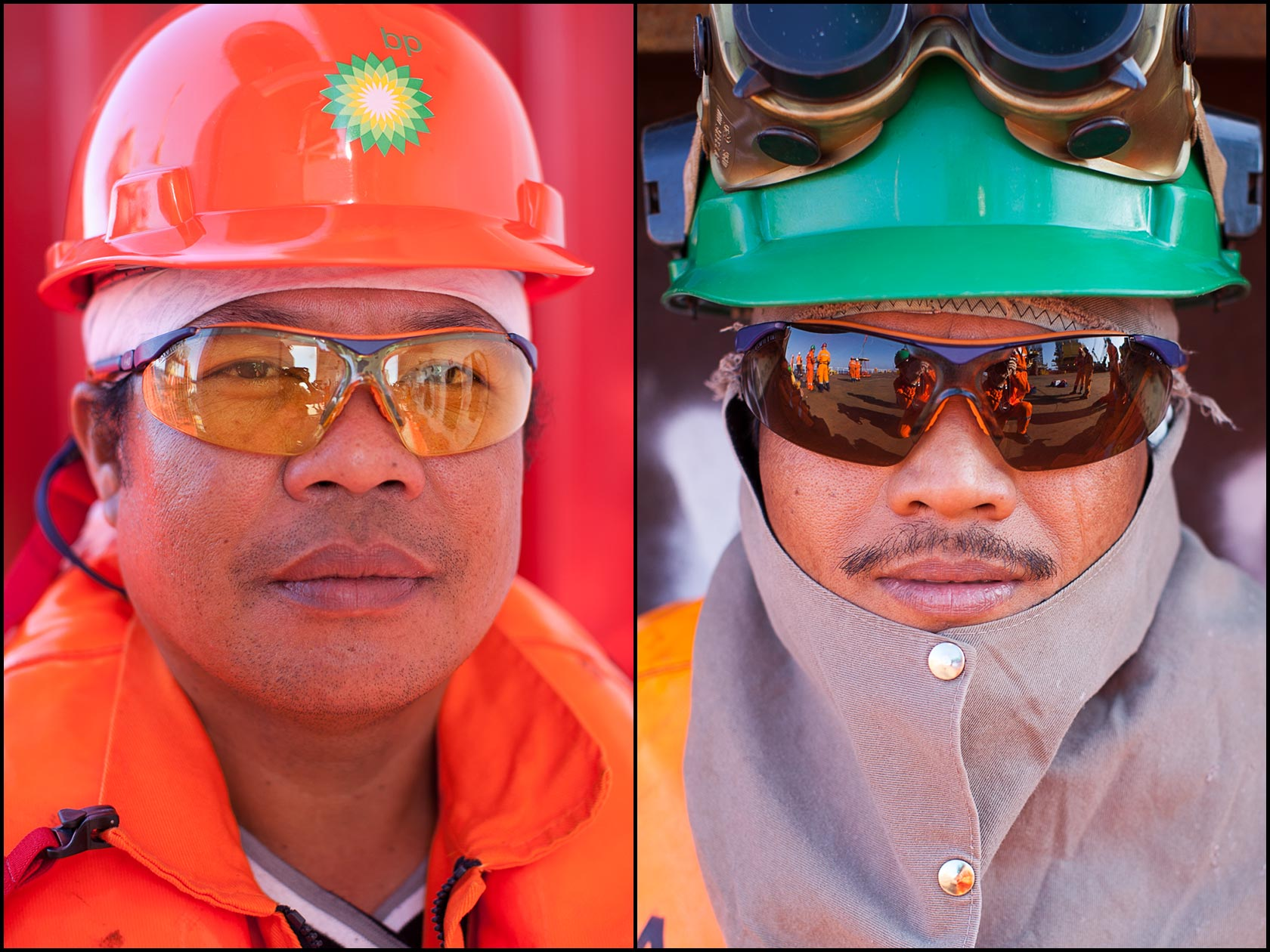 Asian offshore construction ship workers portraits. Deck worker in orange life preserver and hard hat (L), Welder in personal protective gear (R).