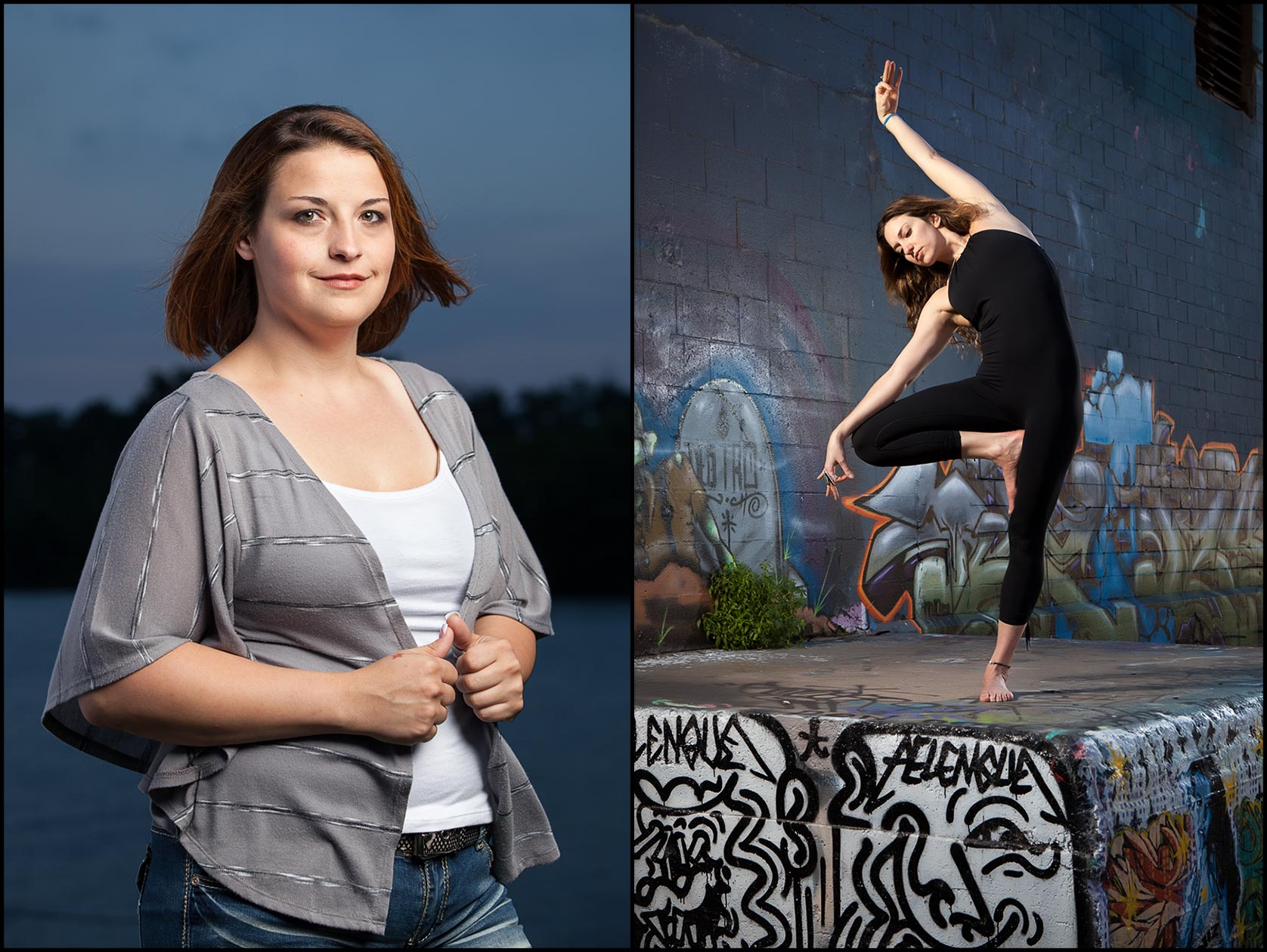 A portrait of a female weight loss clinic advisor outside at dusk (L), A woman doing yoga poses outdoors on concrete painted with urban street art (R).