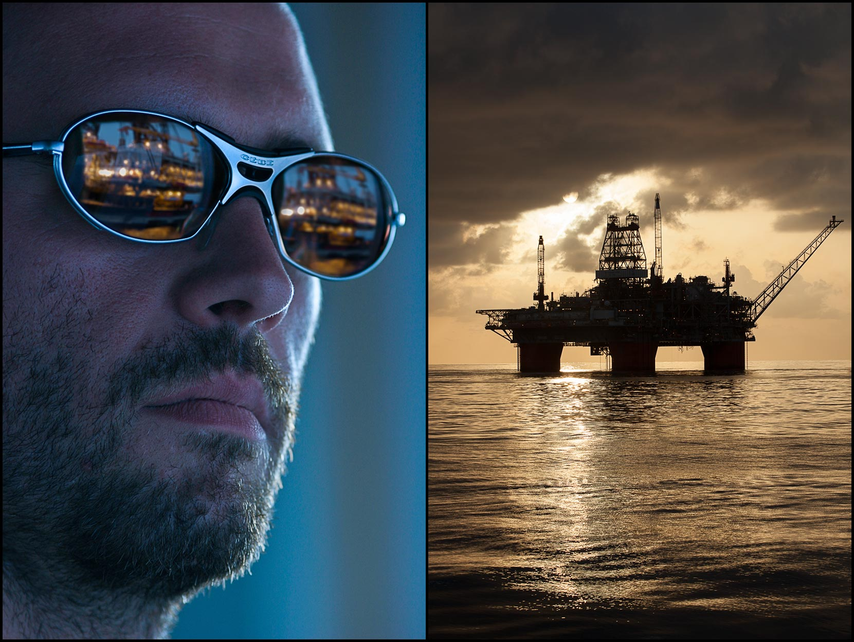 A first mate wears sunglasses that reflect an offshore rig in the lenses (R), A silhouette of a deepwater oil rig in the Gulf of Mexico (R).