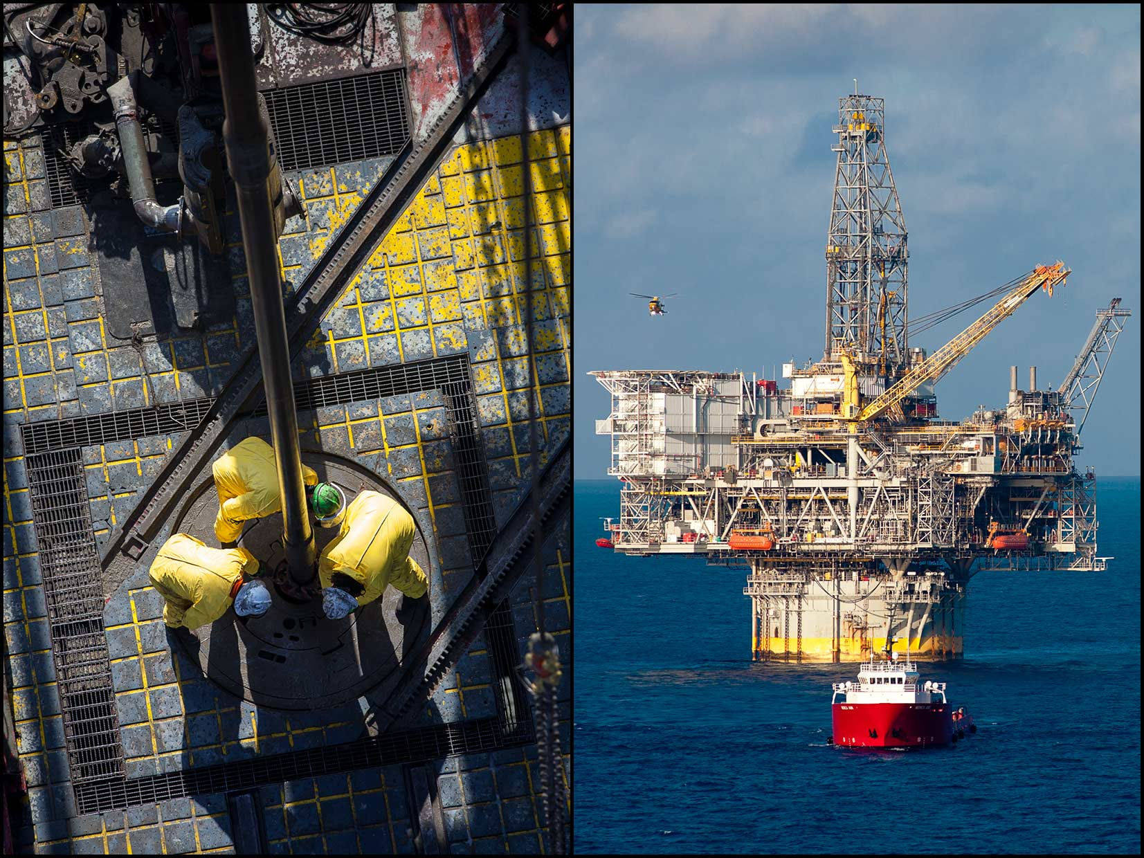 Roughnecks in yellow coveralls on rig floor as seen from derrick (L), A helicopter lands on the BP Mad Dog rig, with a support vessel in foreground (R).