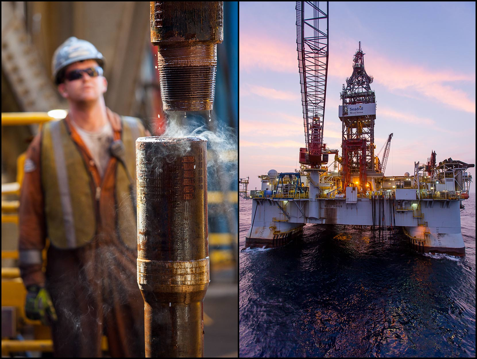 A roughneck watches a pipe connection break on the rig floor (L), A deepwater drilling rig at twilight (R).
