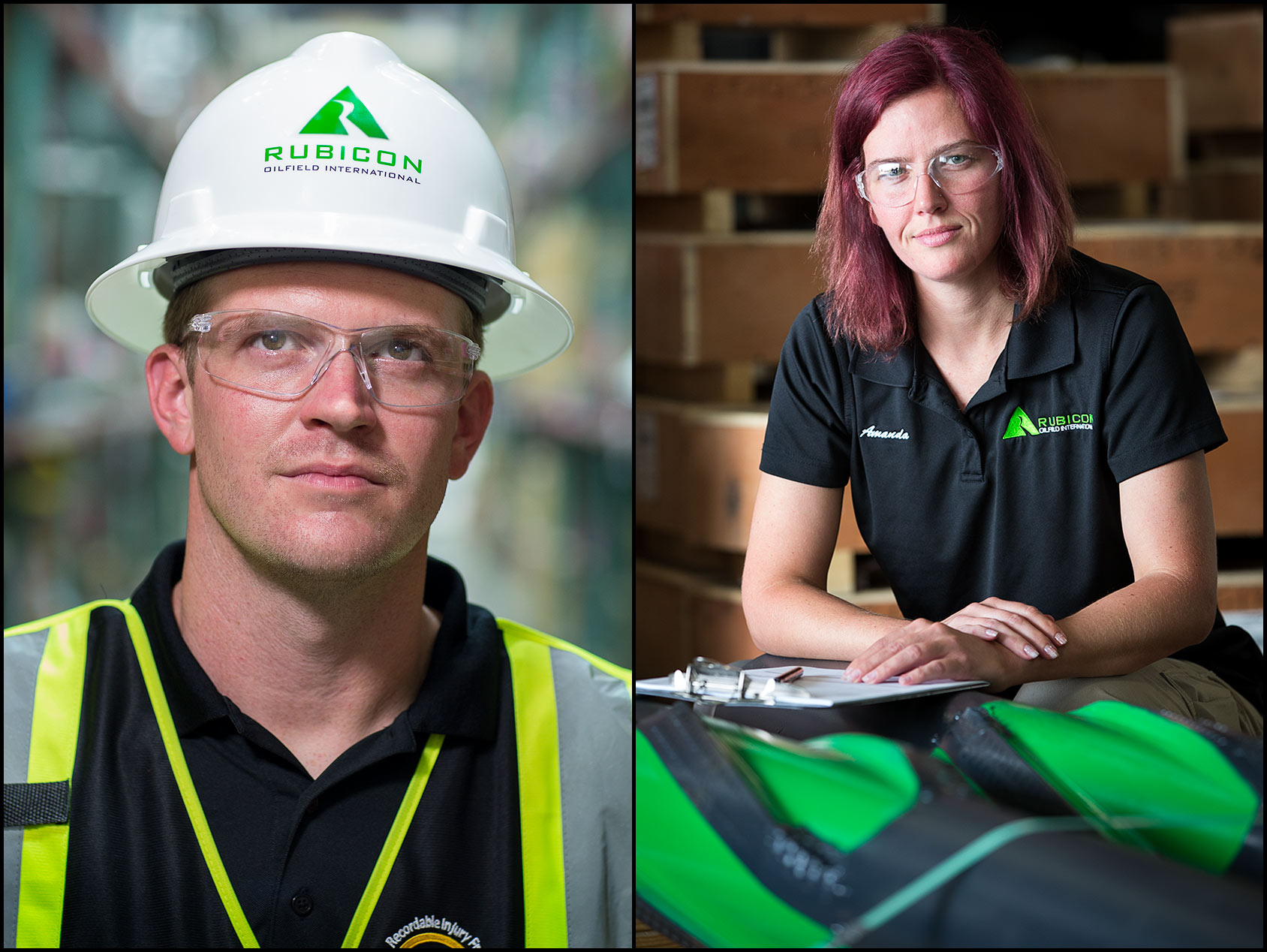 Portraits of male and female warehouse workers inside an oil tool manufacturing company.