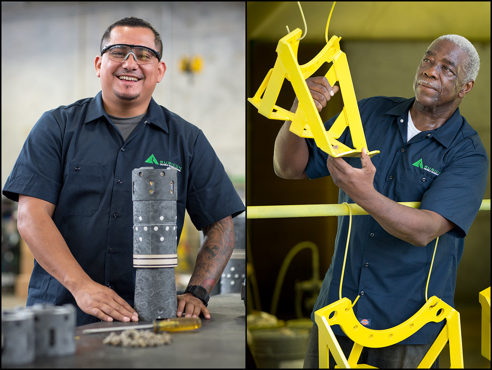 Oilfield tool factory workers: Hispanic/Latino worker at an assembly bench (L), Painted components are inspected by an African-American worker (R).