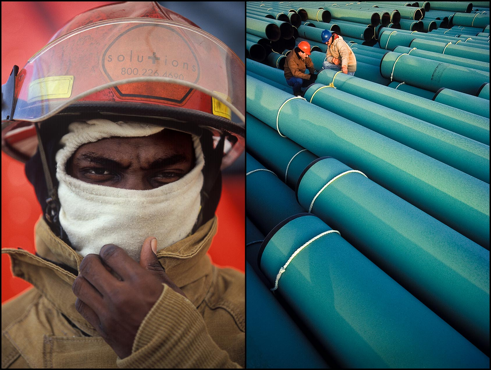 Portrait of a industrial fireman in safety gear (L), Two workers inspect large green pipe sections stacked in a pipe yard (R).