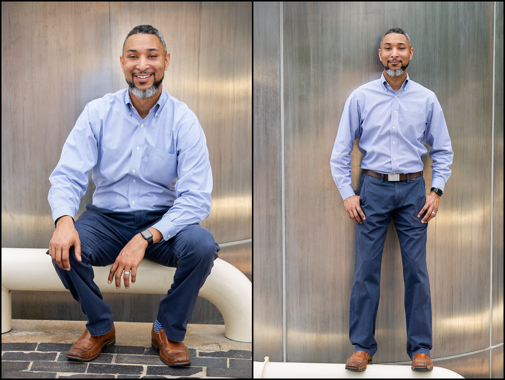 Portraits of an African-American entrepreneur and CEO in front of a brushed metal sculpture in Houston, Texas.