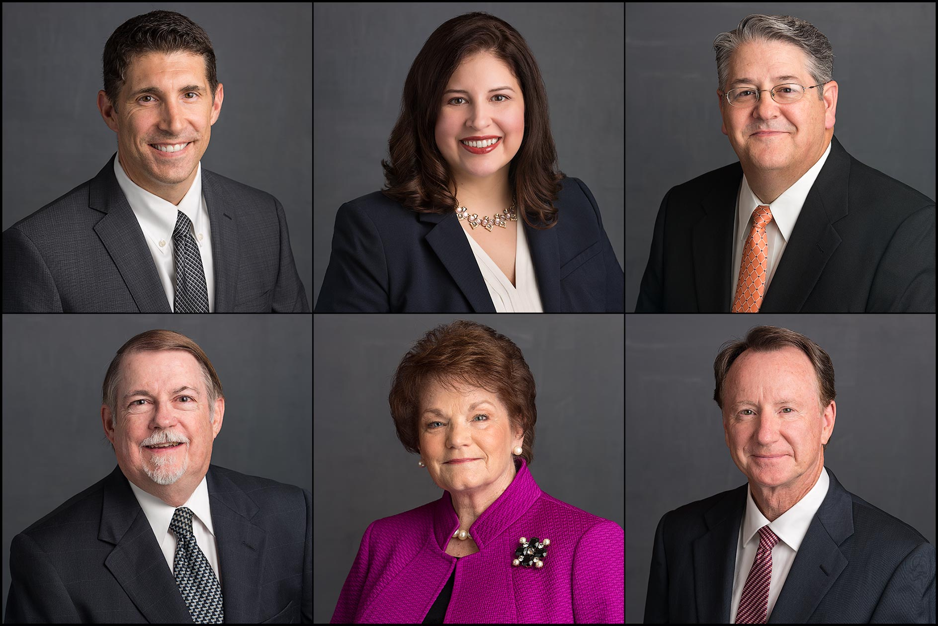 Business Headshots / Bio Portraits – Investment firm executives in grid of six portraits.