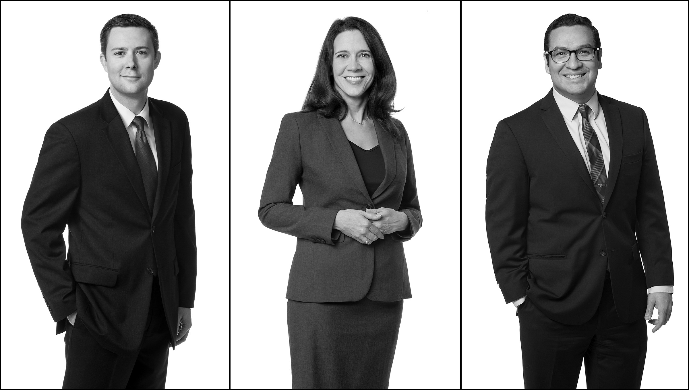 Three attorney portraits in a black and white triptych with white background