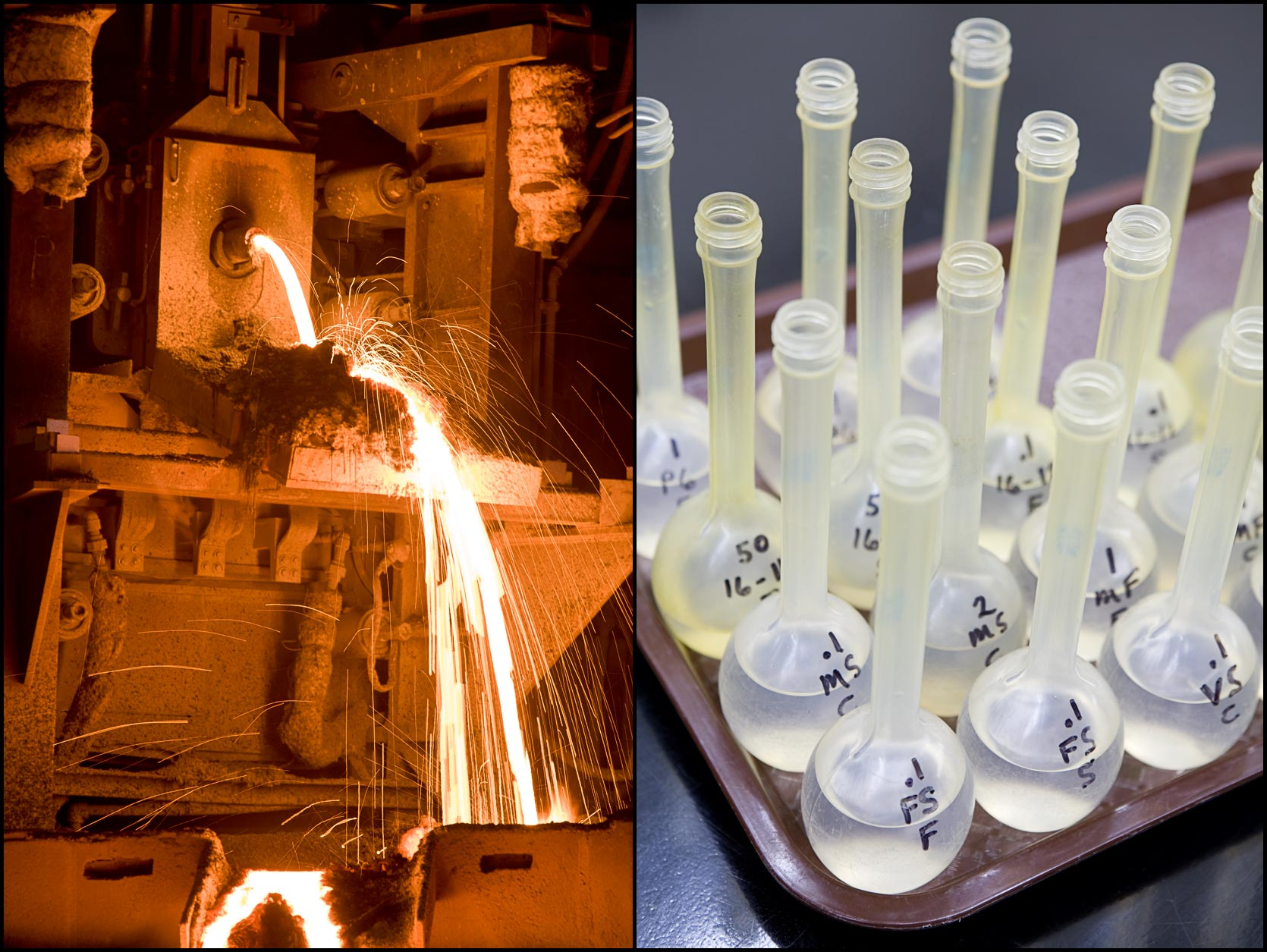Chemical plant operations: Detail molten metal pour (L), Detail of liquid samples in flasks in quality control laboratory (R).