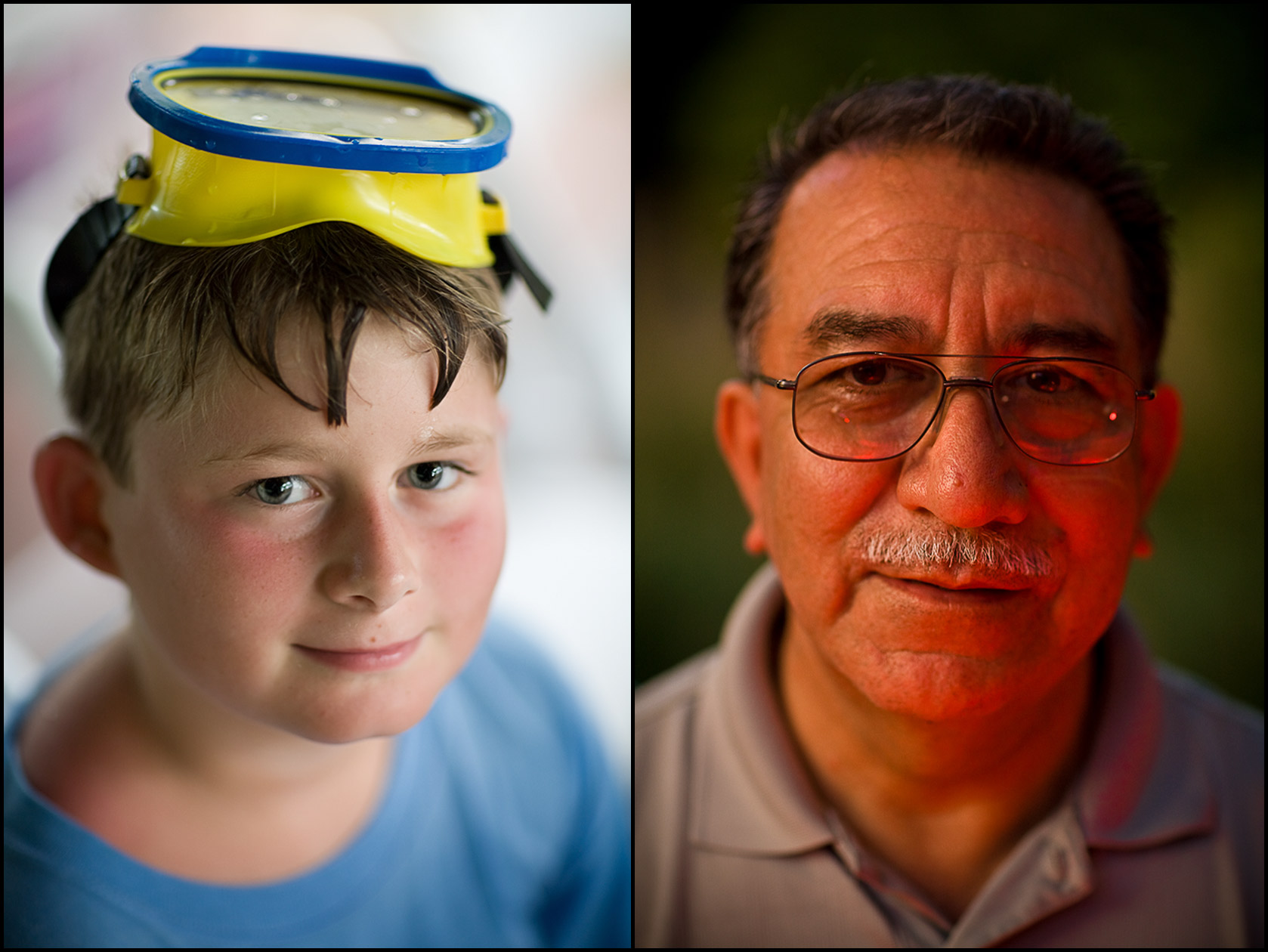 Faces: Young boy with scuba mask on his head (L), A caterer with orange glow from fire on his skin (R).
