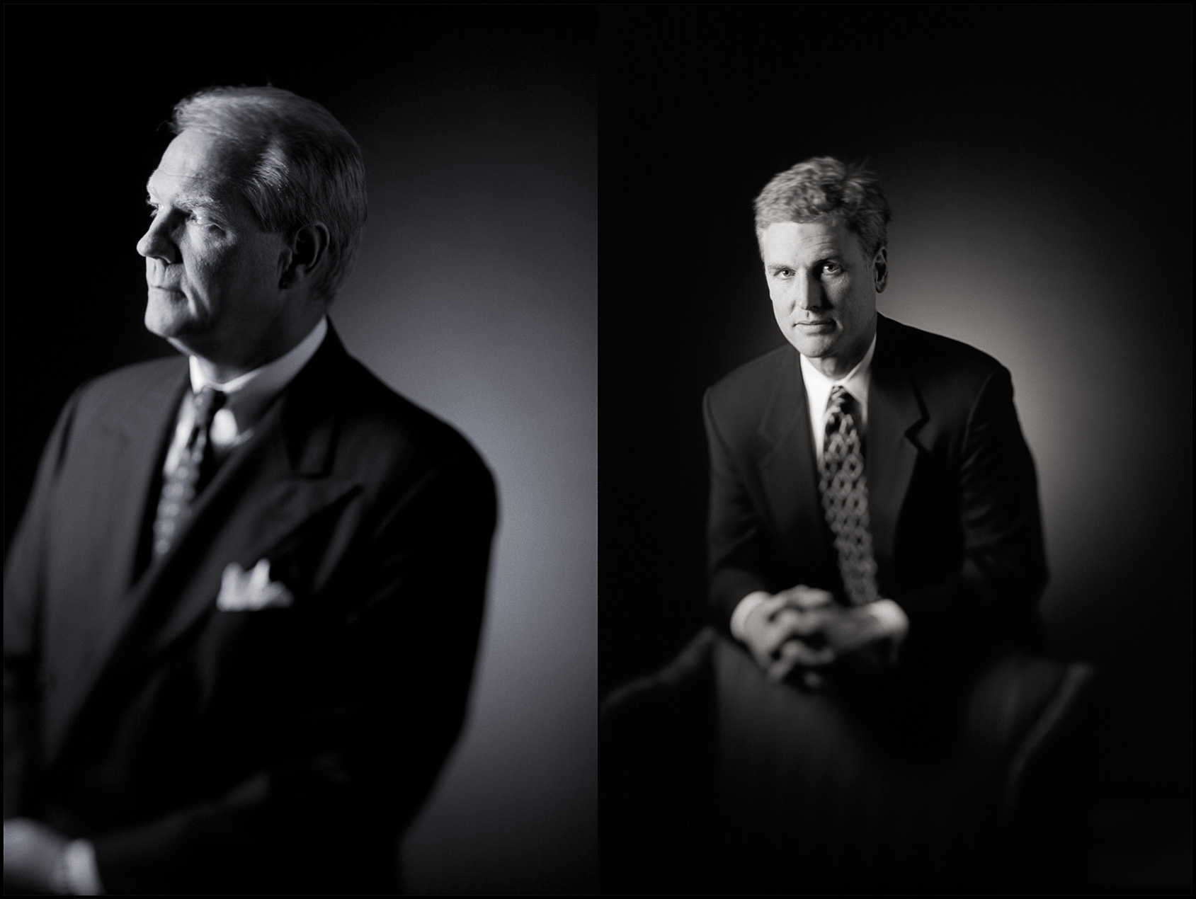 Two executive portraits in black and white with selective focus technique.